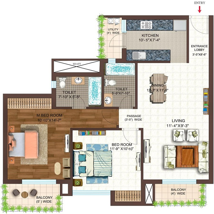 golf shire floor plan 2bhk 2toilet 1195 sq.ft