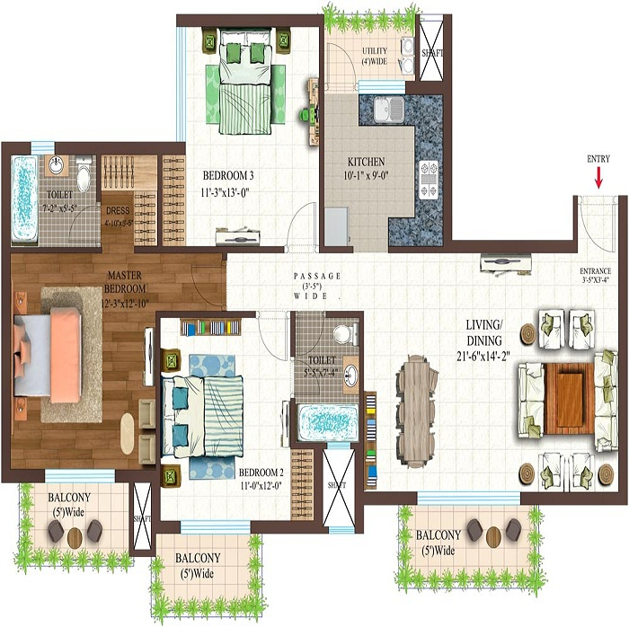 golf shire floor plan 3bhk 2toilet 1675 sq.ft