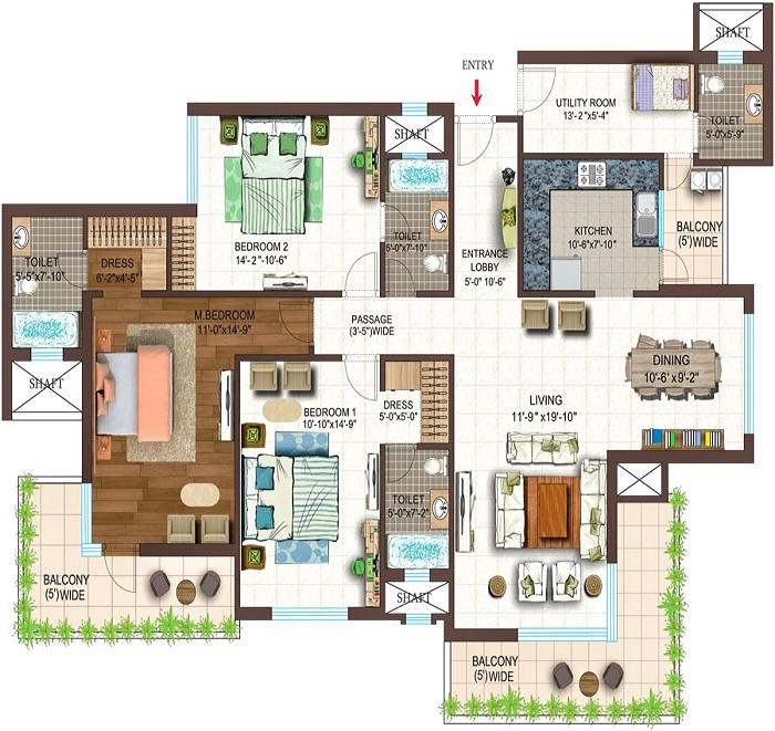 golf shire floor plan 3bhk 3toilet 2095 sq.ft