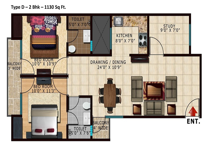 lotus park greens floor plan 2bhk 2toilet 1130 sq.ft