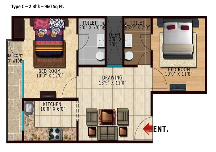 lotus park greens floor plan 2bhk 2toilet 960 sq.ft