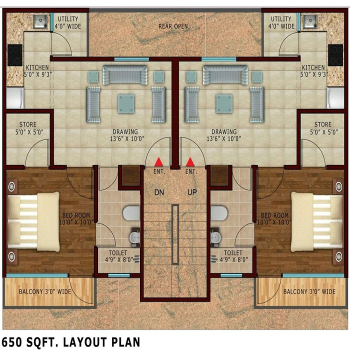 Lotus Villas Floor Plan 1bhk 2toilet 650 Noida