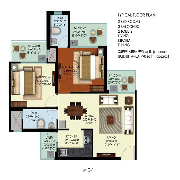 mahagun mywoods marvella floor plan 2bhk 2toilet 990 sq.ft