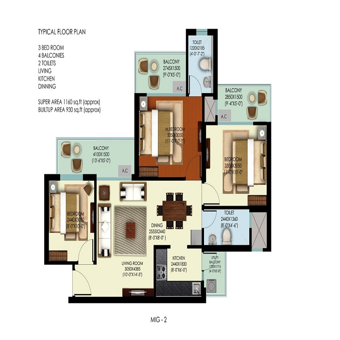 mahagun mywoods marvella floor plan 3bhk 2toilet 1160 sq.ft
