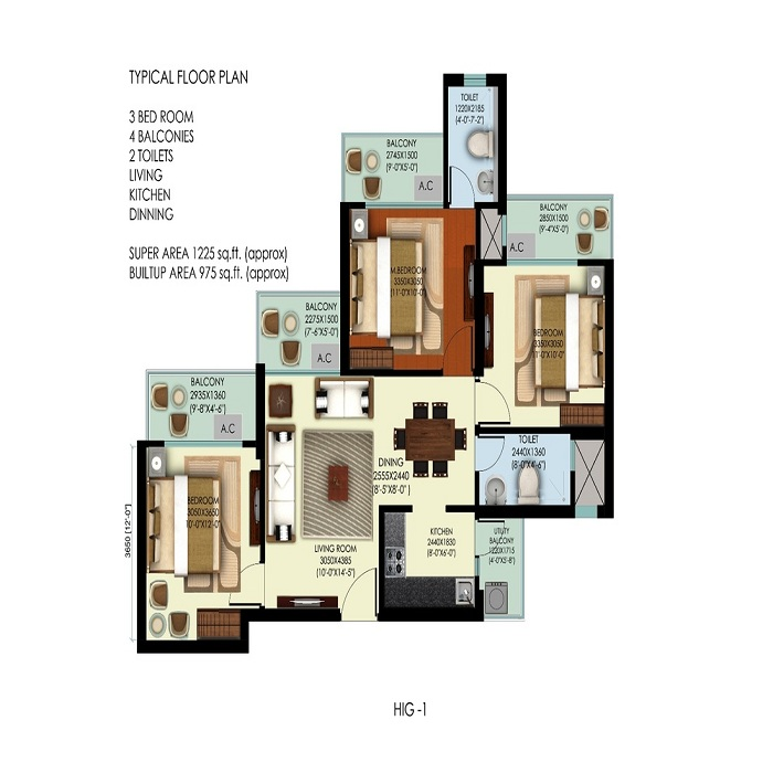 mahagun mywoods marvella floor plan 3bhk 2toilet 1225 sq.ft