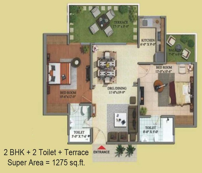 migsun green mansion floor plan 2bhk 2toilet 1275 sq.ft