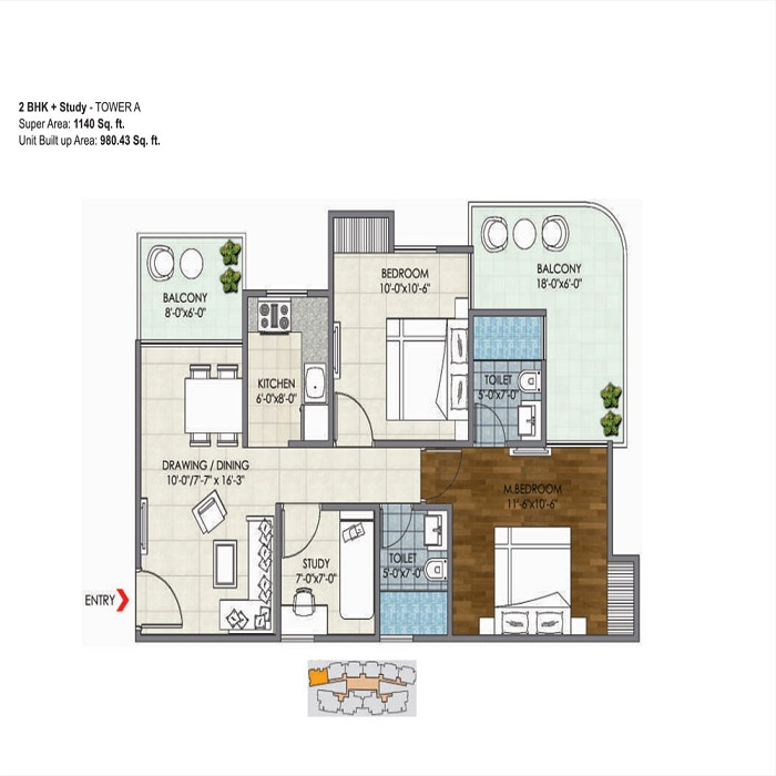 migsun ultimo floor plan 2bhk 2toilet 1140 sq.ft