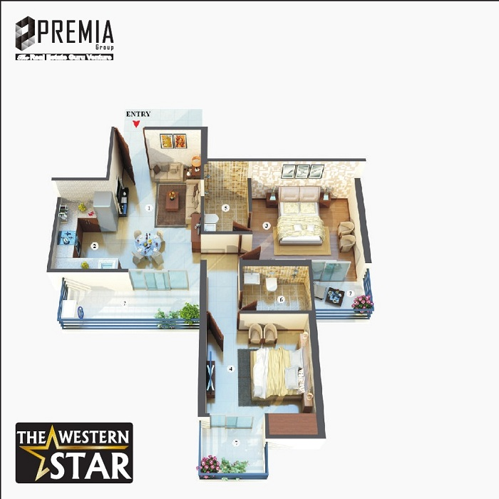 premia western star floor plan 2bhk 2toilet 1065 sq.ft