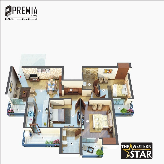 premia western star floor plan 3bhk 2toilet 1420 sq.ft