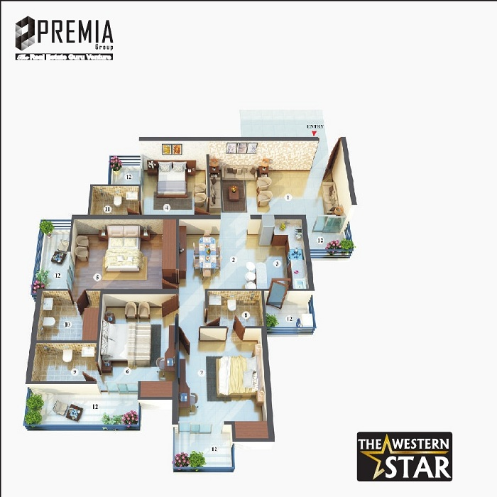 premia western star floor plan 4bhk 4toilet 2100 sq.ft
