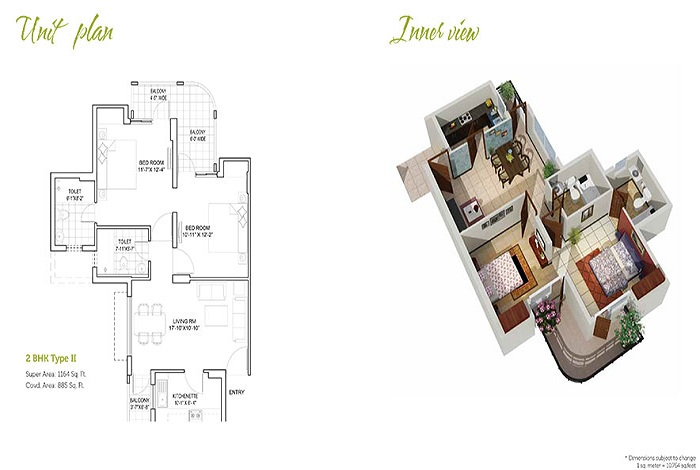 stellar mi citihomes floor plan 2bhk 2toilet 1164 sq.ft
