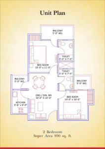supertech aapka ghar floor plan 2bhk 2toilet 890 sq.ft