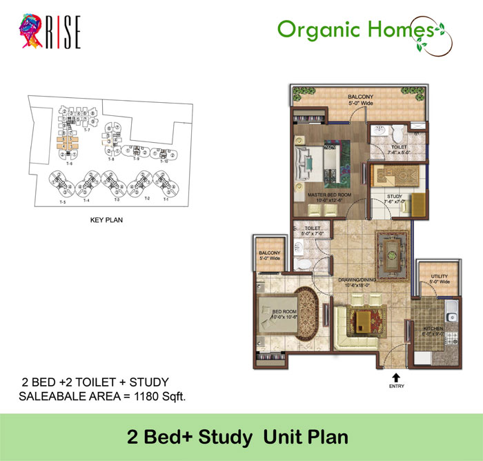 organic homes floor plan 2bhk 2toilet 1180 sq.ft