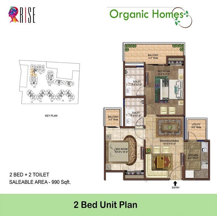 organic homes floor plan 2bhk 2toilet 990 sq.ft