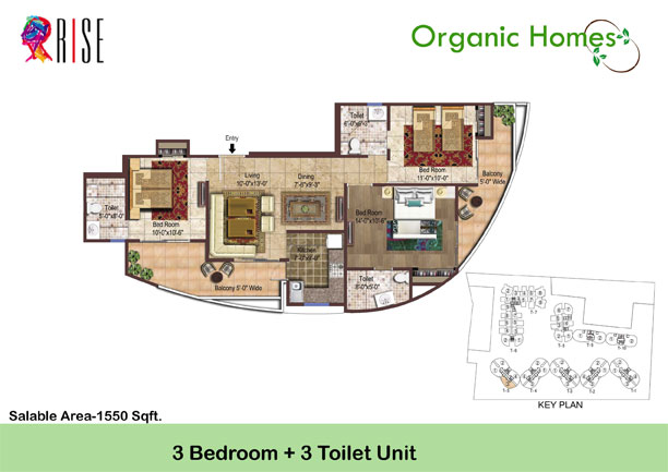 organic homes floor plan 3bhk 3toilet 1550 sq.ft