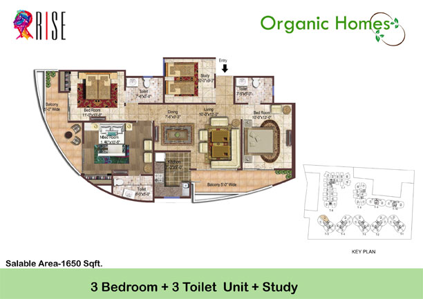 organic homes floor plan 3bhk 3toilet 1650 sq.ft