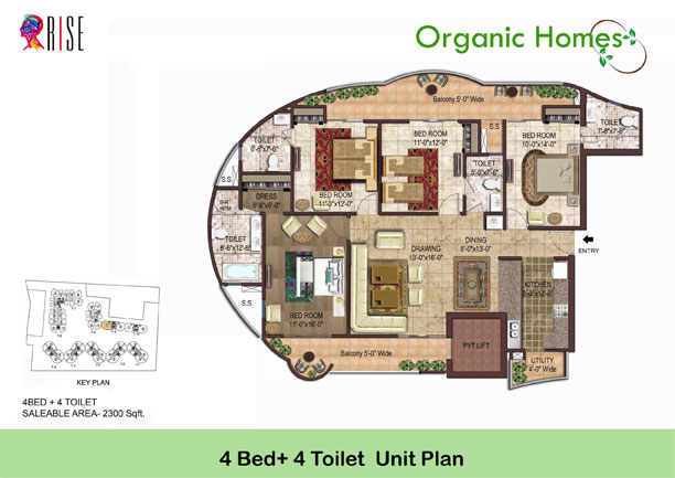 organic homes floor plan 4bhk 4toilet 2300 sq.ft