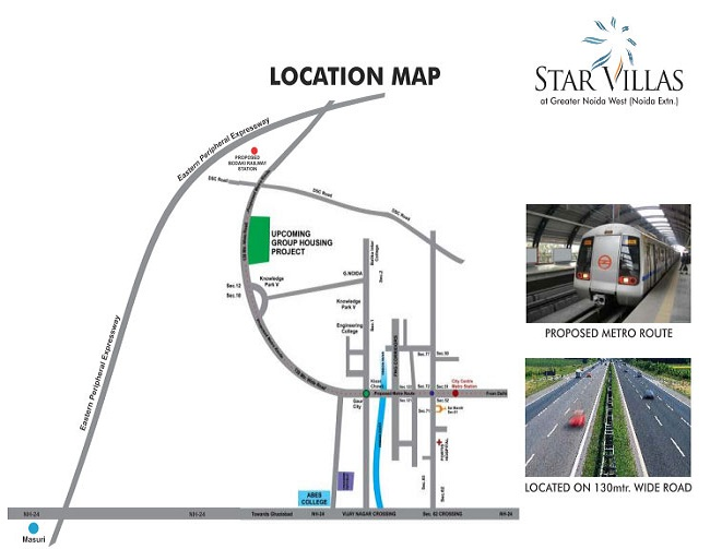 aarcity star villas location map