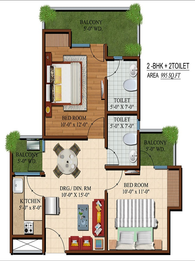 apple orchid floor plan 2bhk 2toilet 995 sq.ft