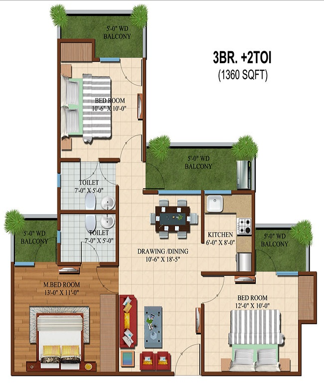 apple orchid floor plan 3bhk 2toilet 1360 sq.ft