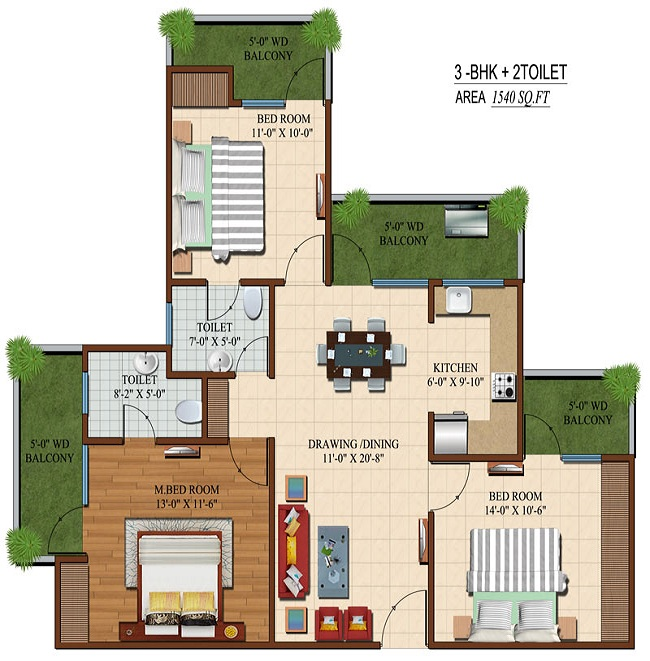 apple orchid floor plan 3bhk 2toilet 1540 sq.ft