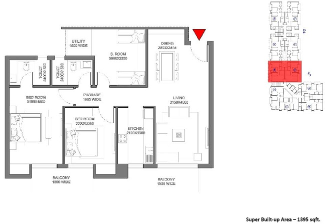 meghdutam encore floor plan 2bhk 2toilet 1395 sq.ft