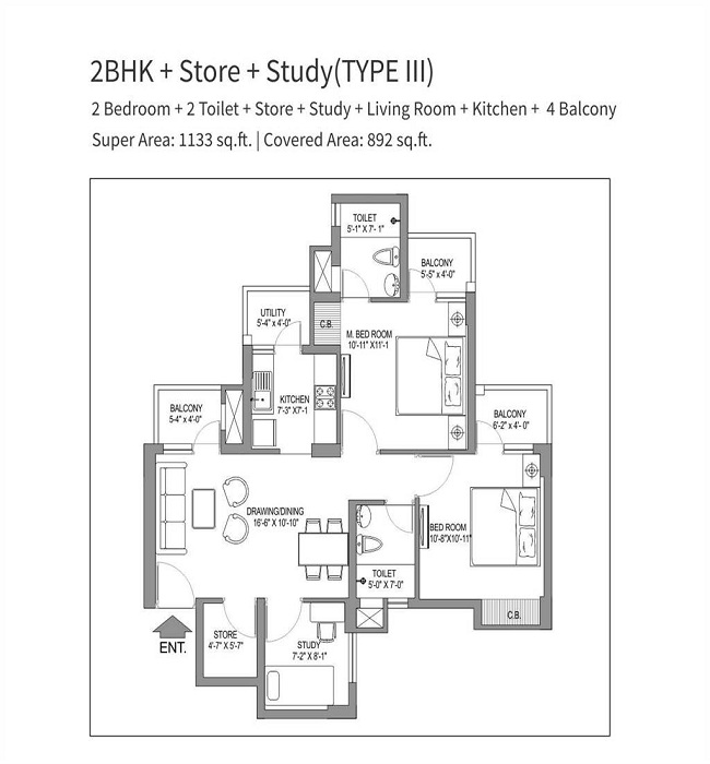 stellar one floor plan 2bhk 2toilet 1133 sq.ft