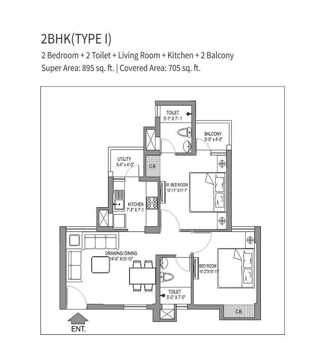 stellar one floor plan 2bhk 2toilet 895 sq.ft