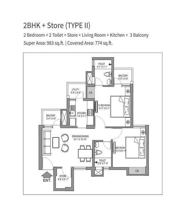 stellar one floor plan 2bhk 2toilet 983 s