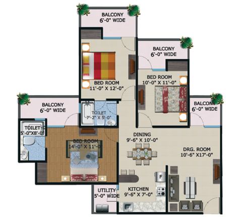 supertech king towers floor plan 3bhk 2toilet 1545 sq.ft
