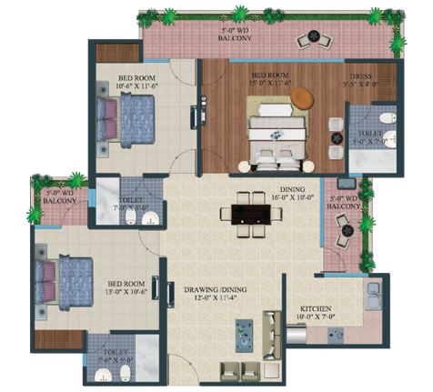 supertech king towers floor plan 3bhk 3toilet 1660 sq.ft