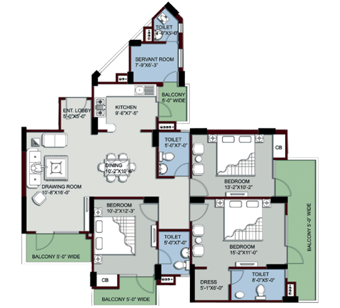 supertech king towers floor plan 3bhk 3toilet 1850 sq.ft