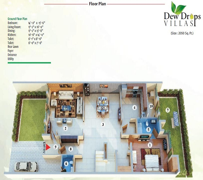 Aadhar dew drops ground floor plan 2050 sq.ft