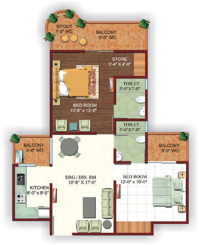 Ajnara fragrance floor plan 2bhk 2toilet 1095sq.ft