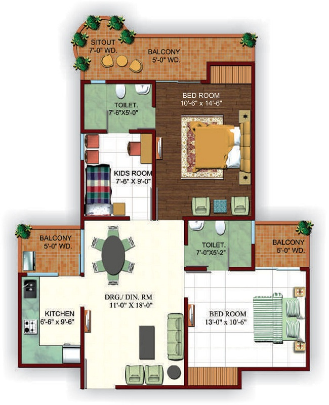 Ajnara fragrance floor plan 2bhk 3toilet 1255sq