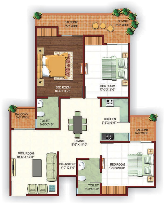 Ajnara fragrance floor plan 3bhk 3toilet 1475sq.ft