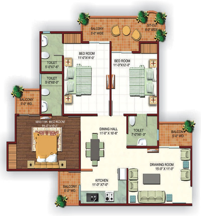 Ajnara fragrance floor plan 4bhk 3toilet 1650sq.ft