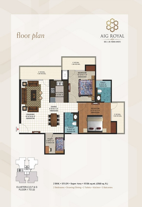 aig royal floor plan 2bhk 2toilet 1260 sq.ft