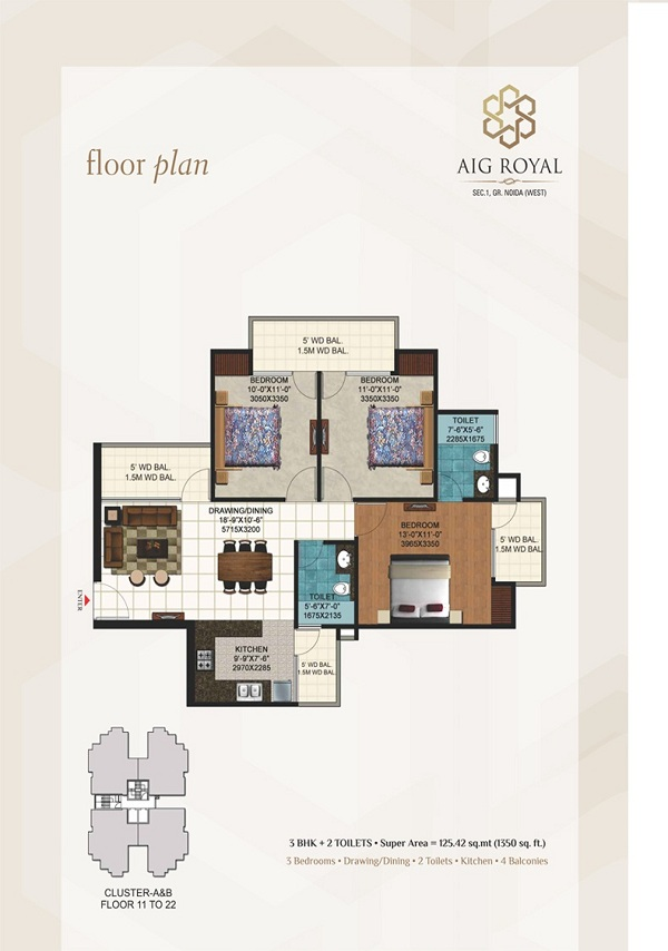 aig royal floor plan 3bhk 2toilet 1350 sq.ft