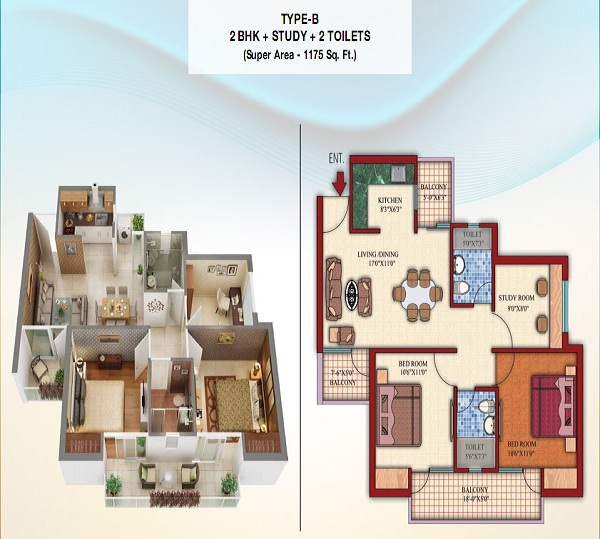 damont epic floor plan 2bhk 2toilet 1175 sq.ft