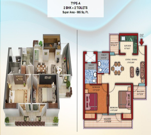 damont epic floor plan 2bhk 2toilet 985 sq.ft