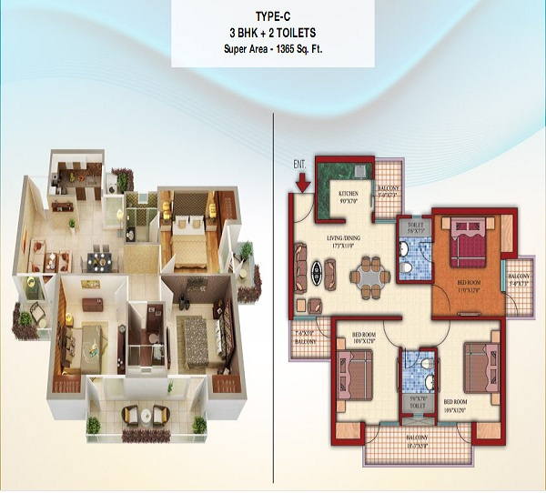 damont epic floor plan 3bhk 2toilet 1365 sq.ft