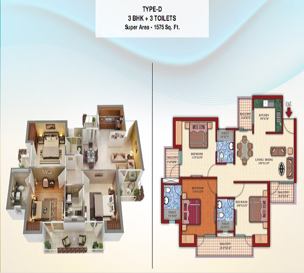 damont epic floor plan 3bhk 3toilet 1575 sq.ft