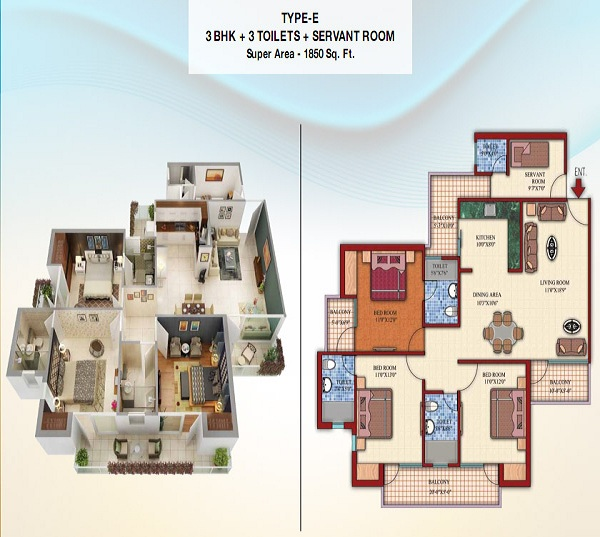 damont epic floor plan 3bhk 3toilet 1850 sq.ft