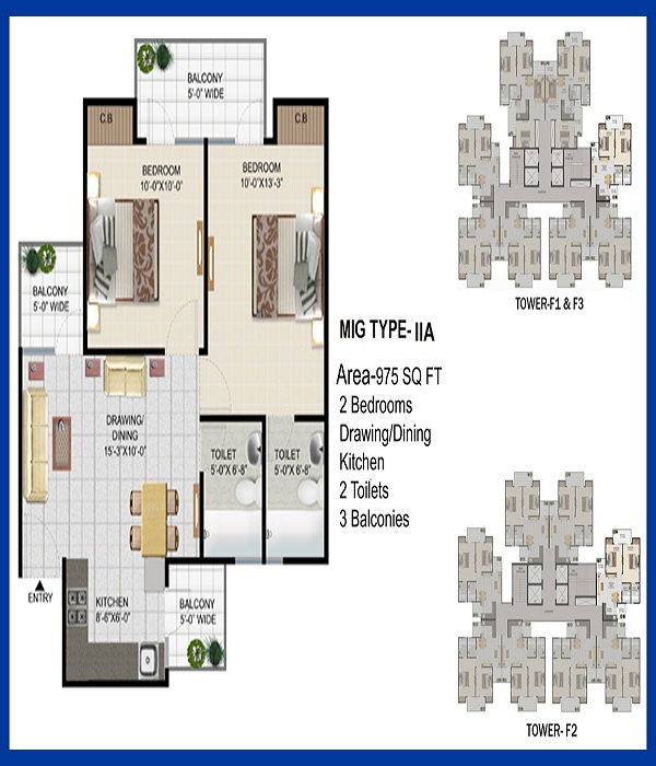panchsheel pinnacle floor plan 2bhk 2toilet 975 sq.ft