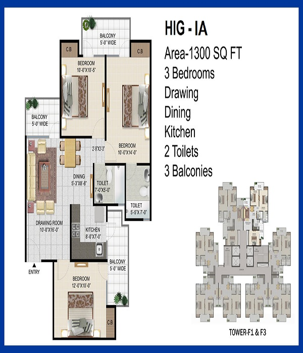 panchsheel pinnacle floor plan 3bhk 2toilet 1300 sq.ft