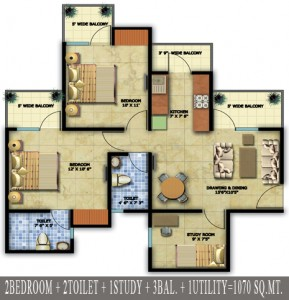 radicon vedantam floor plan 2bhk 2toilet 1070 sq.ft