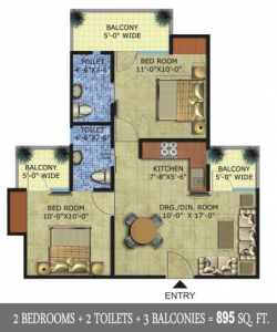 radicon vedantam floor plan 2bhk 2toilet 895 sq.ft
