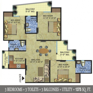 radicon vedantam floor plan 3bhk 3toilet 1375 sq.ft
