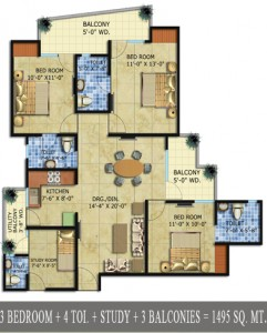 radicon vedantam floor plan 3bhk 4toilet 1495 sq.ft